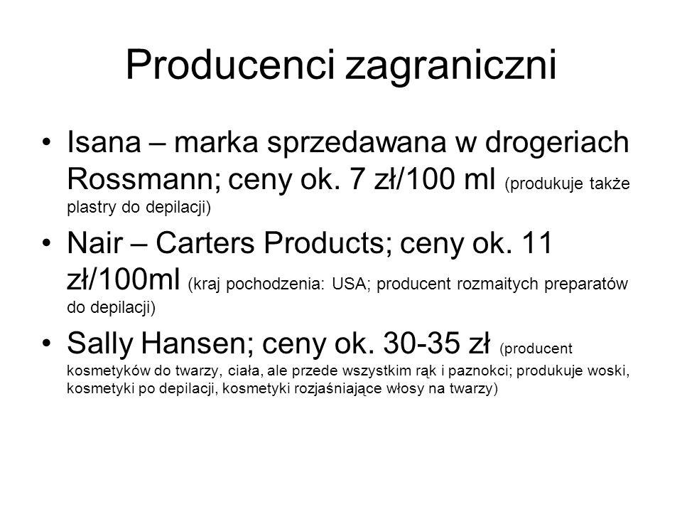 Producenci zagraniczni Isana – marka sprzedawana w drogeriach Rossmann; ceny ok. 7 zł/100 ml (produkuje także plastry do depilacji) Nair – Carters Pro