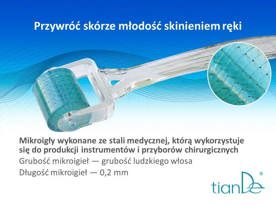 Przywróć skórze młodość skinieniem ręki Mikroigły wykonane ze stali medycznej, którą wykorzystuje się do produkcji instrumentów i przyborów chirurgicznych Grubość mikroigieł — grubość ludzkiego włosa Długość mikroigieł — 0,2 mm