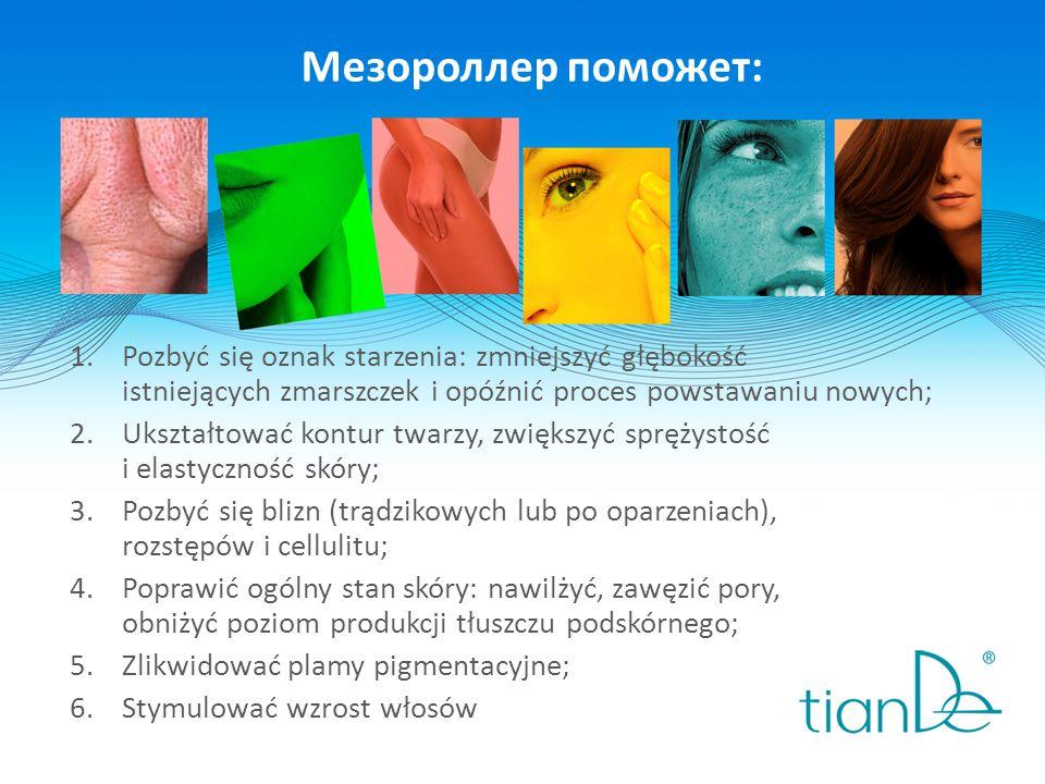 Мезороллер поможет: 1.Pozbyć się oznak starzenia: zmniejszyć głębokość istniejących zmarszczek i opóźnić proces powstawaniu nowych; 2.Ukształtować kontur twarzy, zwiększyć sprężystość i elastyczność skóry; 3.Pozbyć się blizn (trądzikowych lub po oparzeniach), rozstępów i cellulitu; 4.Poprawić ogólny stan skóry: nawilżyć, zawęzić pory, obniżyć poziom produkcji tłuszczu podskórnego; 5.Zlikwidować plamy pigmentacyjne; 6.Stymulować wzrost włosów