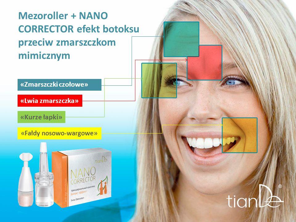 «Lwia zmarszczka» «Zmarszczki czołowe» Mezoroller + NANO CORRECTOR efekt botoksu przeciw zmarszczkom mimicznym «Fałdy nosowo-wargowe» «Kurze łapki»