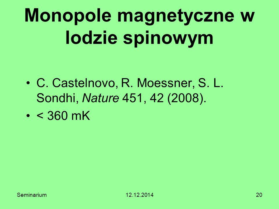 20 Monopole magnetyczne w lodzie spinowym C. Castelnovo, R. Moessner, S. L. Sondhi, Nature 451, 42 (2008). < 360 mK Seminarium12.12.2014
