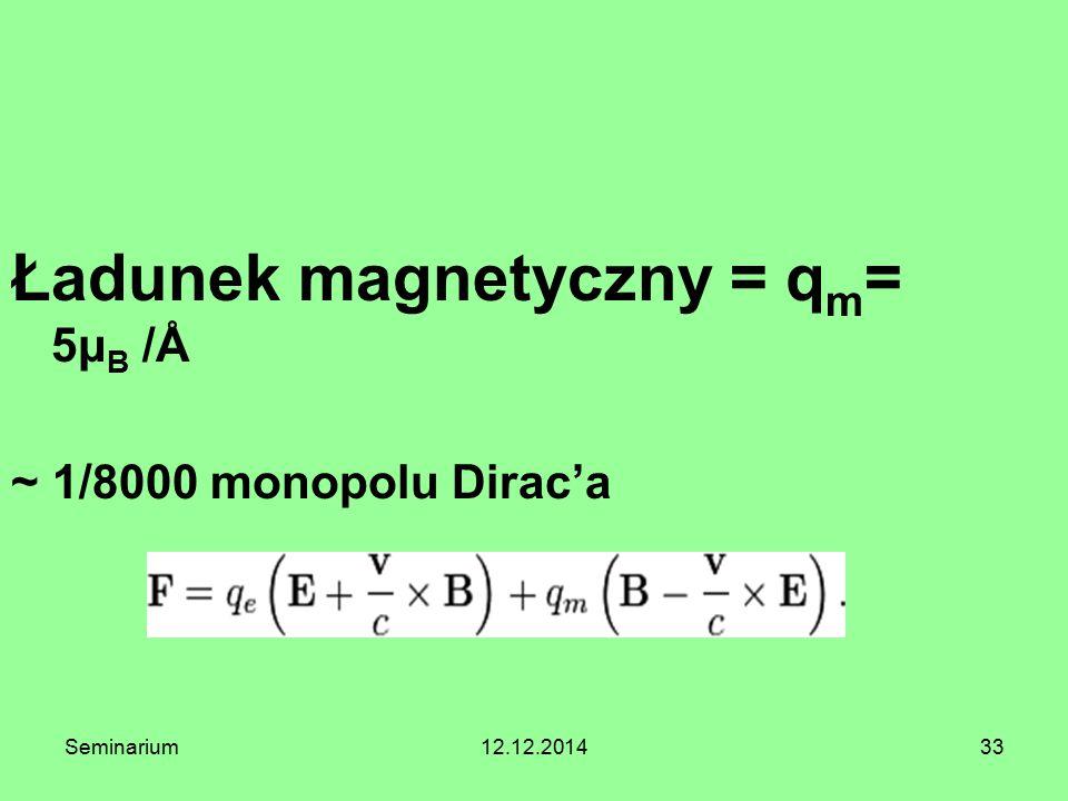 33 Ładunek magnetyczny = q m = 5μ B /Å ~ 1/8000 monopolu Dirac'a Seminarium12.12.2014