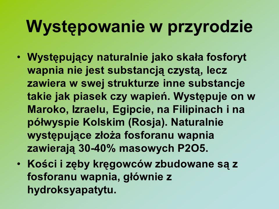 Występowanie w przyrodzie Występujący naturalnie jako skała fosforyt wapnia nie jest substancją czystą, lecz zawiera w swej strukturze inne substancje