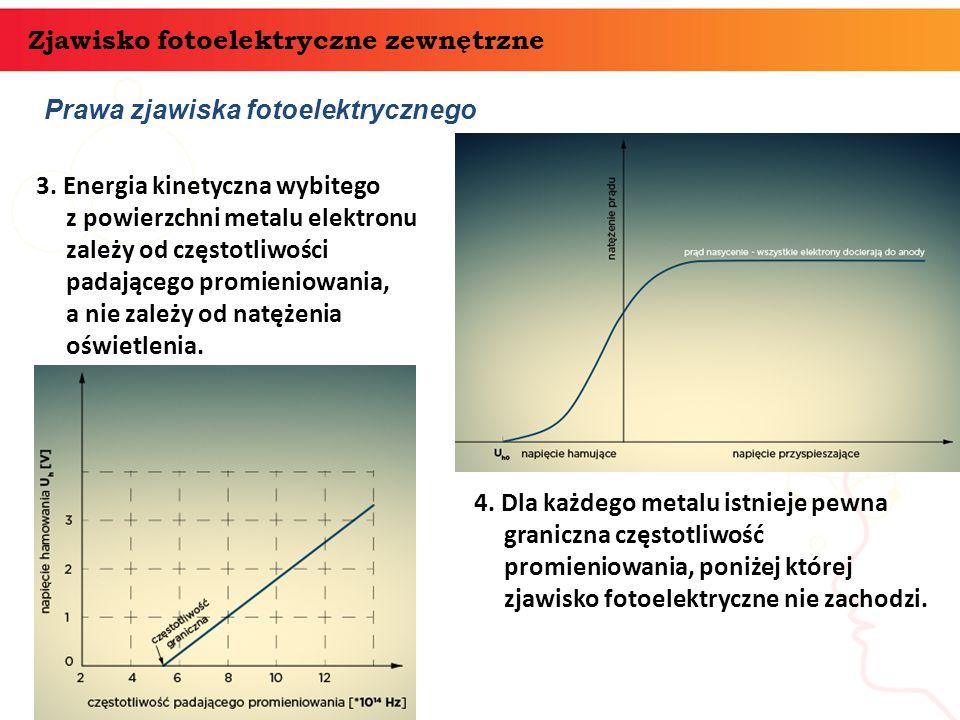 Prawa zjawiska fotoelektrycznego Zjawisko fotoelektryczne zewnętrzne 3. Energia kinetyczna wybitego z powierzchni metalu elektronu zależy od częstotli