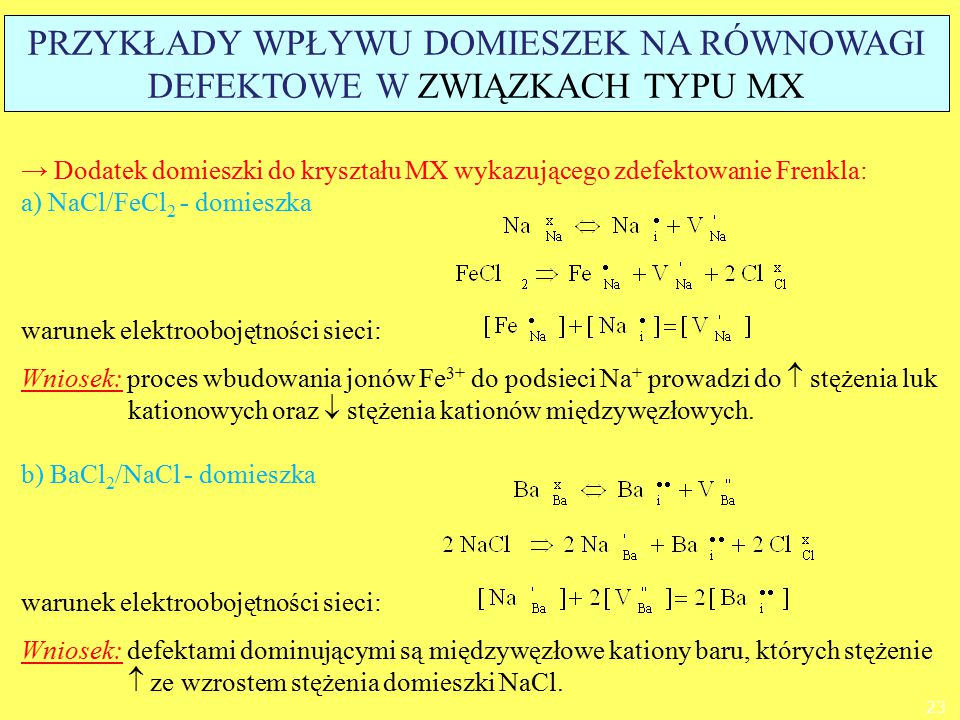 → Dodatek domieszki do kryształu MX wykazującego zdefektowanie Frenkla: a) NaCl/FeCl 2 - domieszka warunek elektroobojętności sieci: Wniosek: proces w