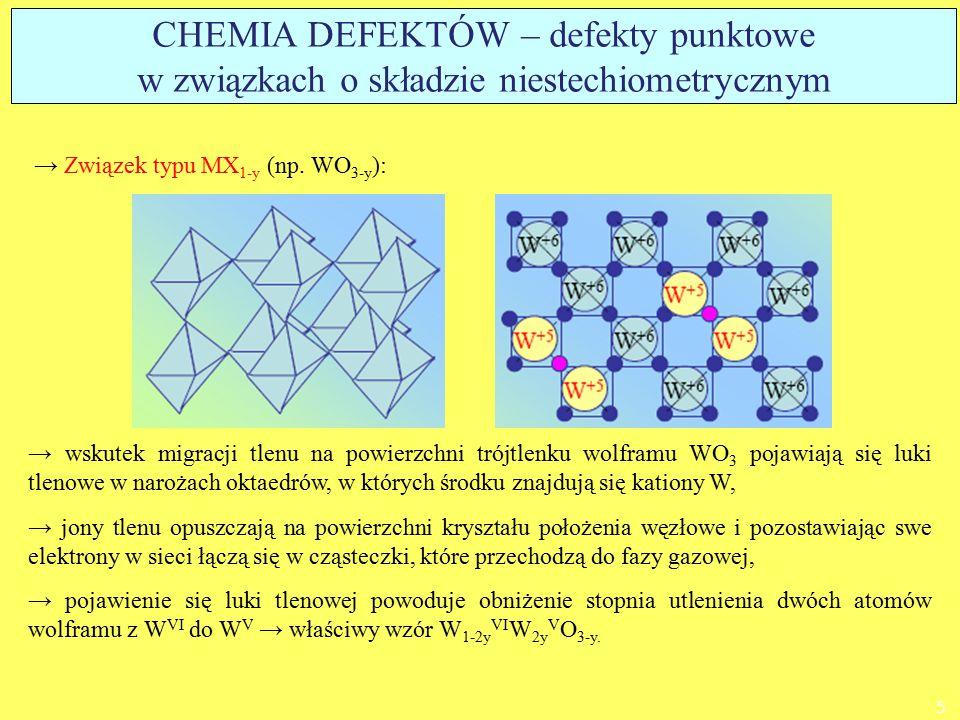 → Związek typu MX 1-y (np. WO 3-y ): → wskutek migracji tlenu na powierzchni trójtlenku wolframu WO 3 pojawiają się luki tlenowe w narożach oktaedrów,