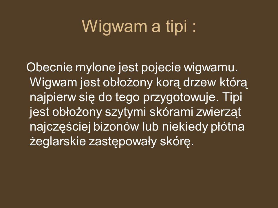 Wigwam a tipi : Obecnie mylone jest pojecie wigwamu. Wigwam jest obłożony korą drzew którą najpierw się do tego przygotowuje. Tipi jest obłożony szyty