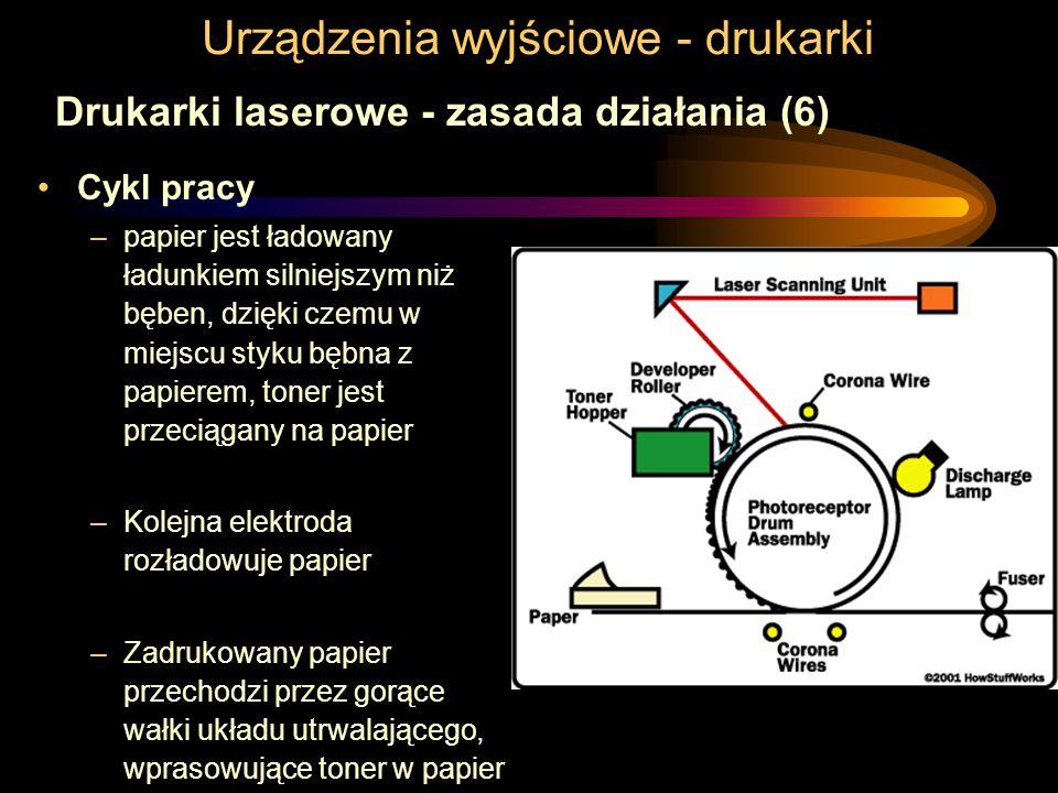 Urządzenia wyjściowe - drukarki Drukarki laserowe - zasada działania (6) Cykl pracy –papier jest ładowany ładunkiem silniejszym niż bęben, dzięki czem