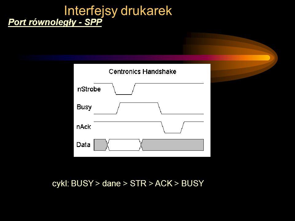 Interfejsy drukarek Port równoległy - SPP cykl: BUSY > dane > STR > ACK > BUSY