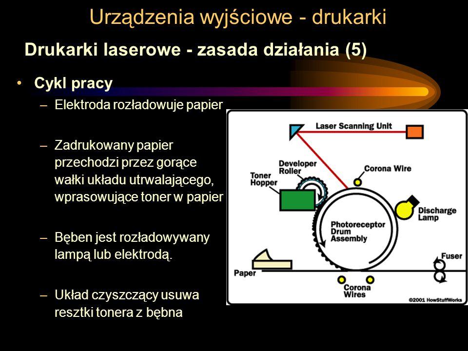 Urządzenia wyjściowe - drukarki Drukarki laserowe - zasada działania (5) Cykl pracy –Elektroda rozładowuje papier –Zadrukowany papier przechodzi przez