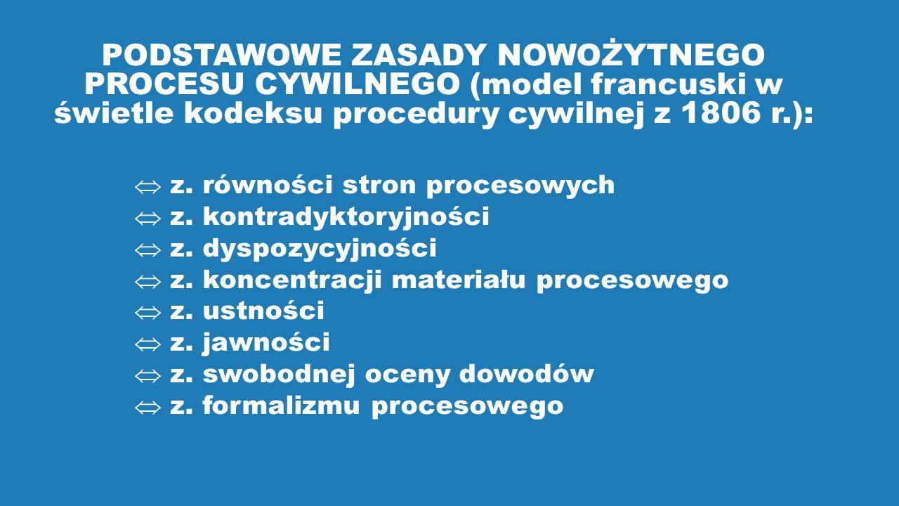PODSTAWOWE ZASADY NOWOŻYTNEGO PROCESU CYWILNEGO (model francuski w świetle kodeksu procedury cywilnej z 1806 r.):  z.