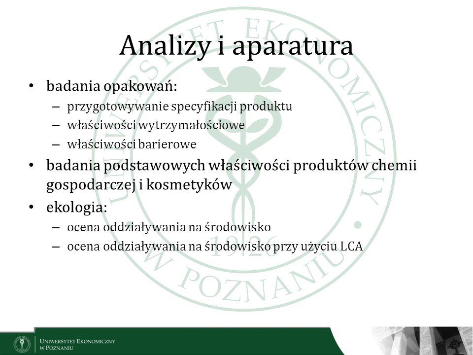 Analizy i aparatura badania opakowań: – przygotowywanie specyfikacji produktu – właściwości wytrzymałościowe – właściwości barierowe badania podstawow