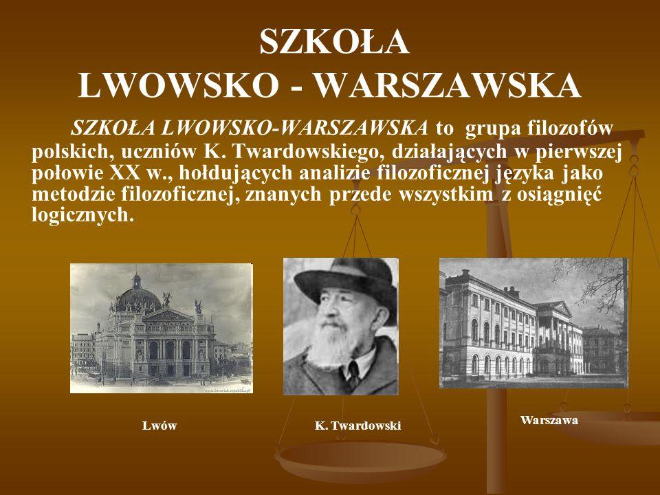 SZKOŁA LWOWSKO - WARSZAWSKA SZKOŁA LWOWSKO-WARSZAWSKA to grupa filozofów polskich, uczniów K. Twardowskiego, działających w pierwszej połowie XX w., h
