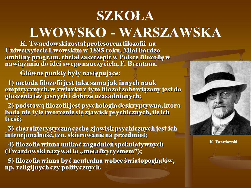 SZKOŁA LWOWSKO - WARSZAWSKA Bardzo złożona była sprawa wpływu fenomenologii na szkołę lwowsko-warszawską, Ajdukiewicz i Czeżowski akceptowali husserlowską teorię intencji znaczeniowej, a Leśniewski, Ajdukiewicz i Tarski znali i rozwijali koncepcję kategorii znaczeniowych Husserla.