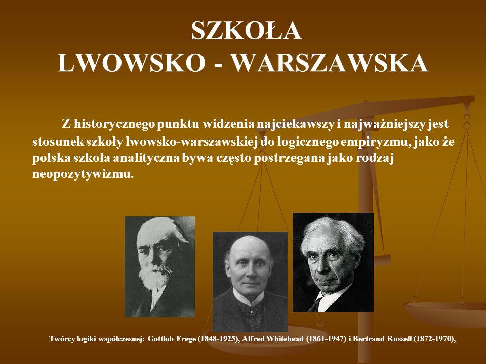 SZKOŁA LWOWSKO - WARSZAWSKA Z historycznego punktu widzenia najciekawszy i najważniejszy jest stosunek szkoły lwowsko-warszawskiej do logicznego empir