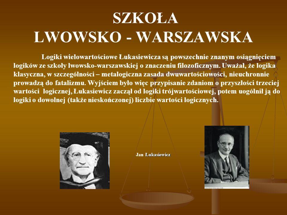 SZKOŁA LWOWSKO - WARSZAWSKA Logiki wielowartościowe Łukasiewicza są powszechnie znanym osiągnięciem logików ze szkoły lwowsko-warszawskiej o znaczeniu