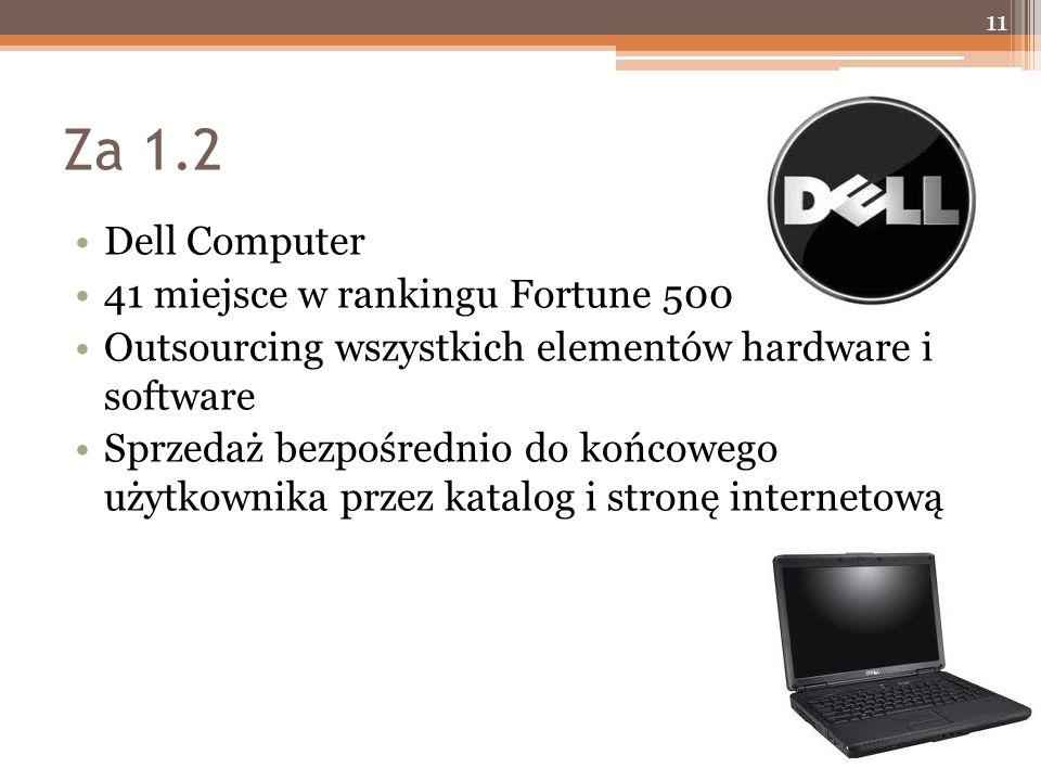 Za 1.2 Dell Computer 41 miejsce w rankingu Fortune 500 Outsourcing wszystkich elementów hardware i software Sprzedaż bezpośrednio do końcowego użytkownika przez katalog i stronę internetową 11