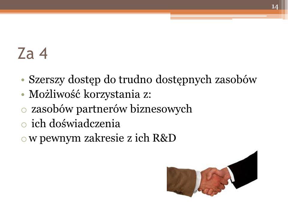 Za 4 Szerszy dostęp do trudno dostępnych zasobów Możliwość korzystania z: o zasobów partnerów biznesowych o ich doświadczenia o w pewnym zakresie z ich R&D 14