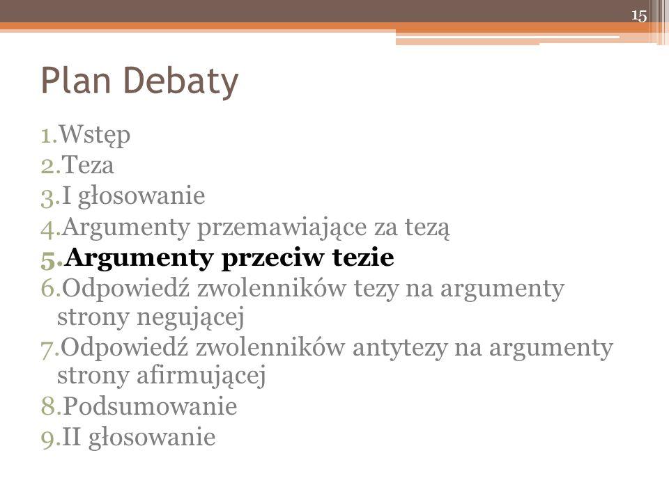 Plan Debaty 1.Wstęp 2.Teza 3.I głosowanie 4.Argumenty przemawiające za tezą 5.Argumenty przeciw tezie 6.Odpowiedź zwolenników tezy na argumenty strony negującej 7.Odpowiedź zwolenników antytezy na argumenty strony afirmującej 8.Podsumowanie 9.II głosowanie 15