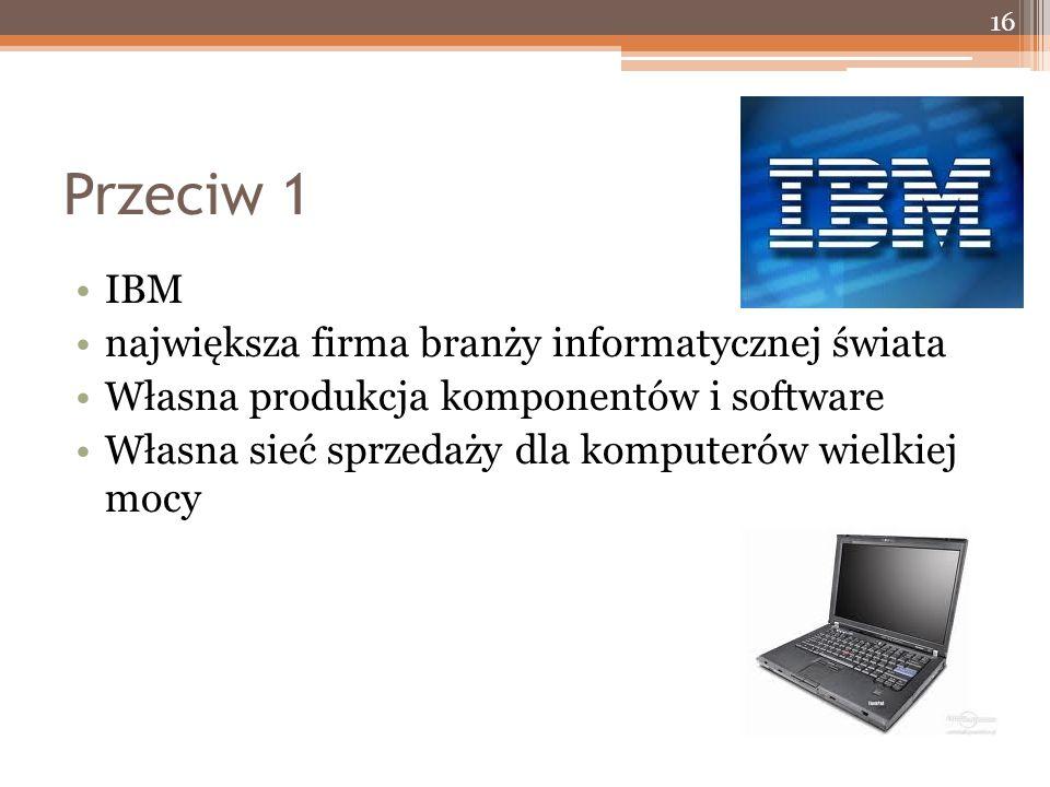 Przeciw 1 IBM największa firma branży informatycznej świata Własna produkcja komponentów i software Własna sieć sprzedaży dla komputerów wielkiej mocy 16