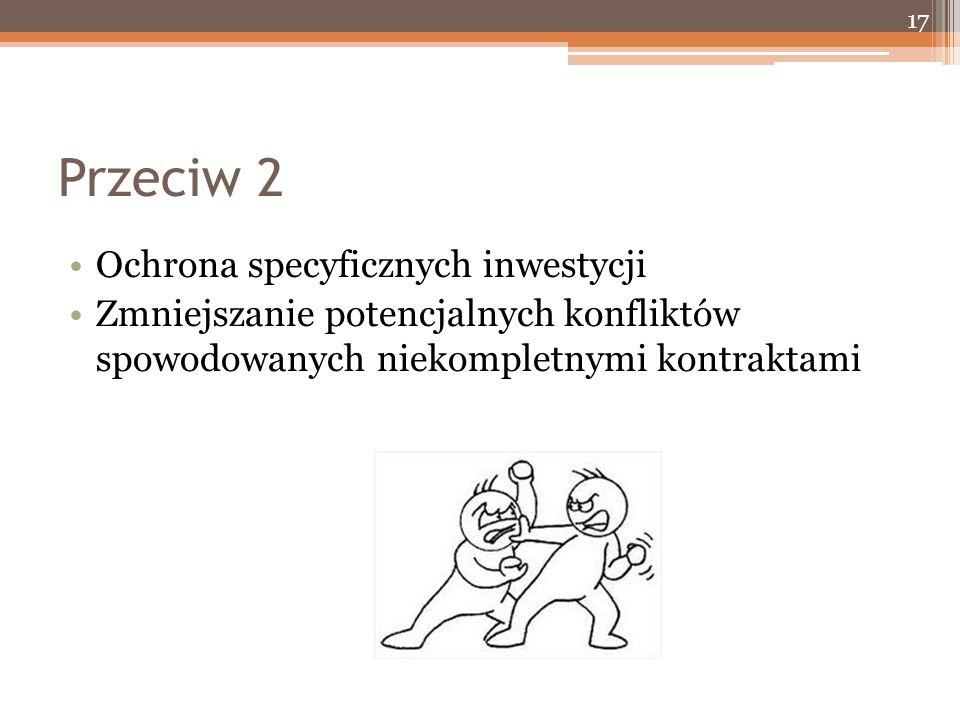 Przeciw 2 Ochrona specyficznych inwestycji Zmniejszanie potencjalnych konfliktów spowodowanych niekompletnymi kontraktami 17