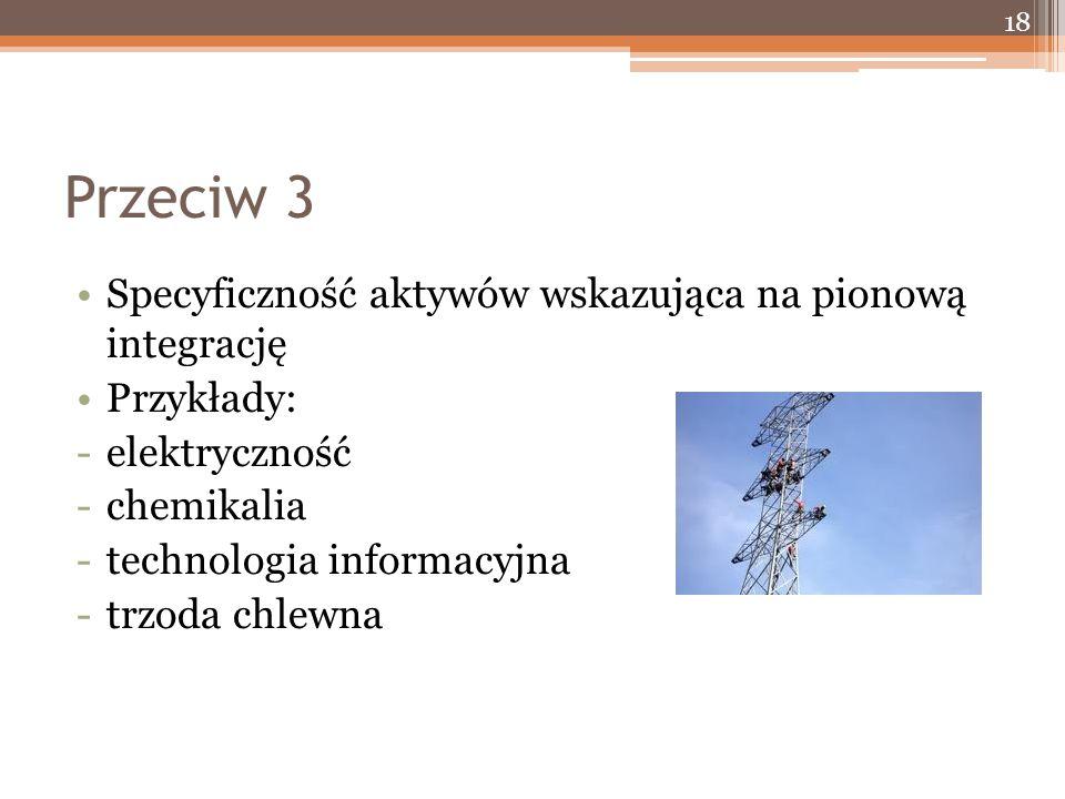 Przeciw 3 Specyficzność aktywów wskazująca na pionową integrację Przykłady: -elektryczność -chemikalia -technologia informacyjna -trzoda chlewna 18