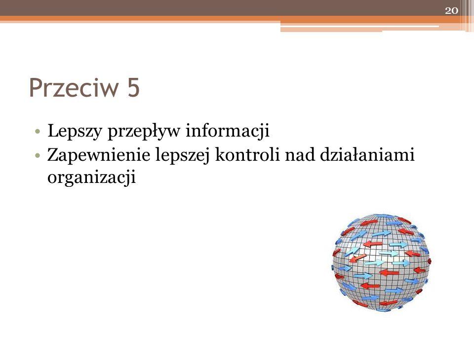Przeciw 5 Lepszy przepływ informacji Zapewnienie lepszej kontroli nad działaniami organizacji 20