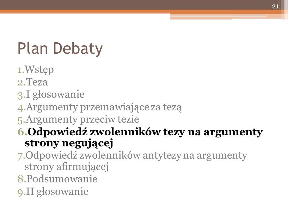 Plan Debaty 1.Wstęp 2.Teza 3.I głosowanie 4.Argumenty przemawiające za tezą 5.Argumenty przeciw tezie 6.Odpowiedź zwolenników tezy na argumenty strony negującej 7.Odpowiedź zwolenników antytezy na argumenty strony afirmującej 8.Podsumowanie 9.II głosowanie 21