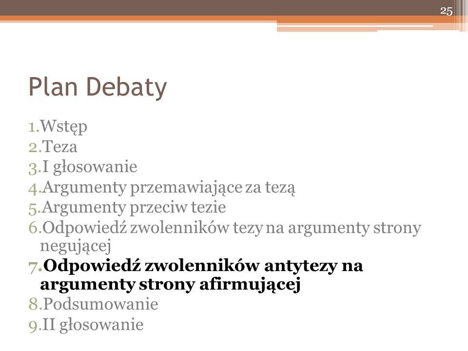 Plan Debaty 1.Wstęp 2.Teza 3.I głosowanie 4.Argumenty przemawiające za tezą 5.Argumenty przeciw tezie 6.Odpowiedź zwolenników tezy na argumenty strony negującej 7.Odpowiedź zwolenników antytezy na argumenty strony afirmującej 8.Podsumowanie 9.II głosowanie 25