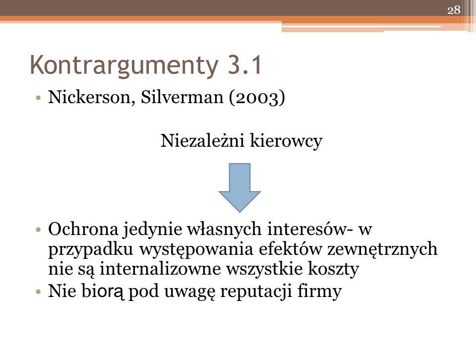 Kontrargumenty 3.1 Nickerson, Silverman (2003) Niezależni kierowcy Ochrona jedynie własnych interesów- w przypadku występowania efektów zewnętrznych nie są internalizowne wszystkie koszty Nie bi orą pod uwagę reputacji firmy 28