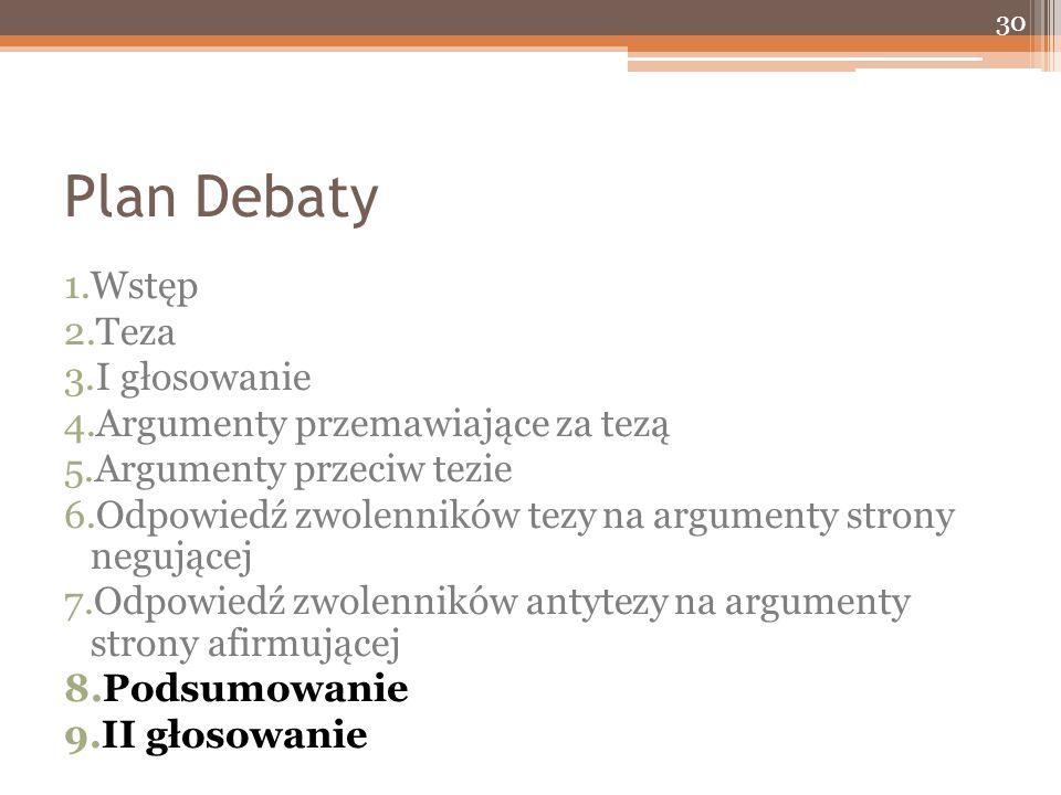 Plan Debaty 1.Wstęp 2.Teza 3.I głosowanie 4.Argumenty przemawiające za tezą 5.Argumenty przeciw tezie 6.Odpowiedź zwolenników tezy na argumenty strony negującej 7.Odpowiedź zwolenników antytezy na argumenty strony afirmującej 8.Podsumowanie 9.II głosowanie 30