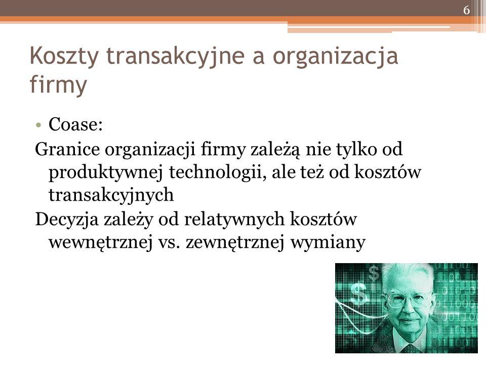 Koszty transakcyjne a organizacja firmy Coase: Granice organizacji firmy zależą nie tylko od produktywnej technologii, ale też od kosztów transakcyjnych Decyzja zależy od relatywnych kosztów wewnętrznej vs.