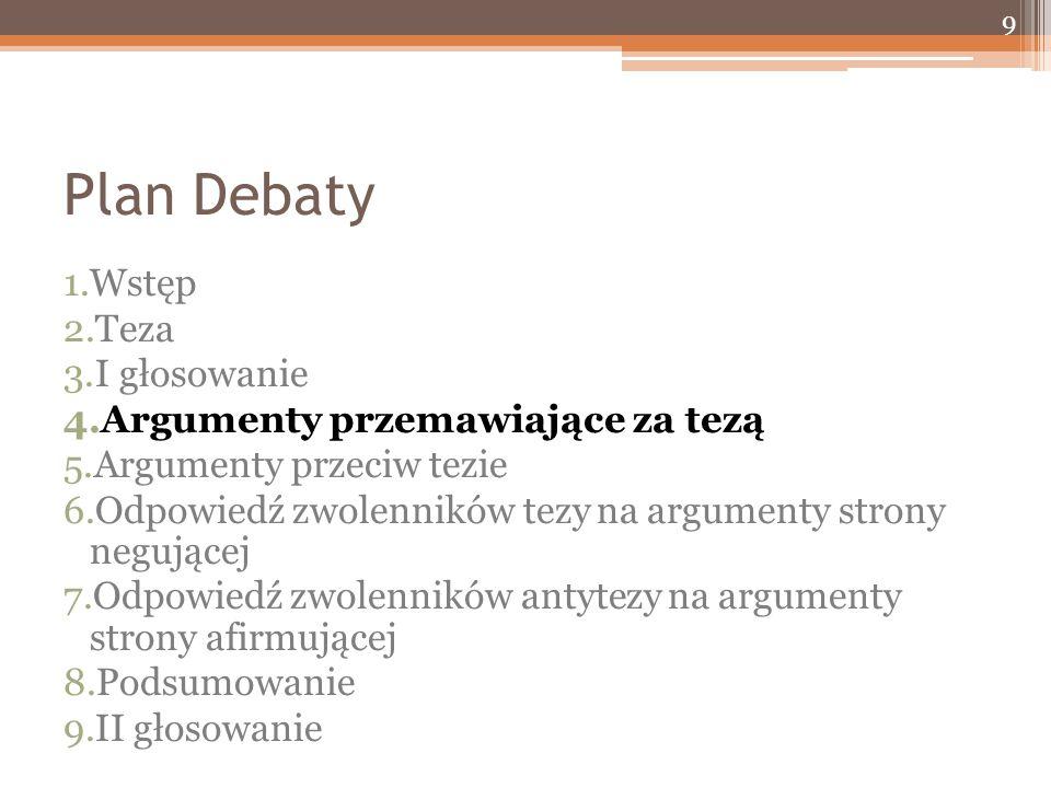 Plan Debaty 1.Wstęp 2.Teza 3.I głosowanie 4.Argumenty przemawiające za tezą 5.Argumenty przeciw tezie 6.Odpowiedź zwolenników tezy na argumenty strony negującej 7.Odpowiedź zwolenników antytezy na argumenty strony afirmującej 8.Podsumowanie 9.II głosowanie 9