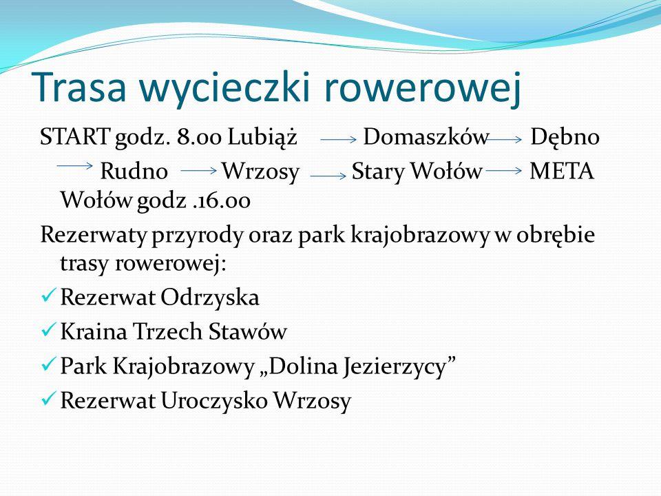 Trasa wycieczki rowerowej START godz. 8.00 Lubiąż Domaszków Dębno Rudno Wrzosy Stary Wołów META Wołów godz.16.oo Rezerwaty przyrody oraz park krajobra