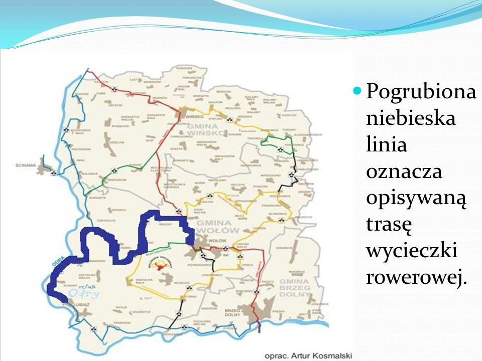 Pogrubiona niebieska linia oznacza opisywaną trasę wycieczki rowerowej.