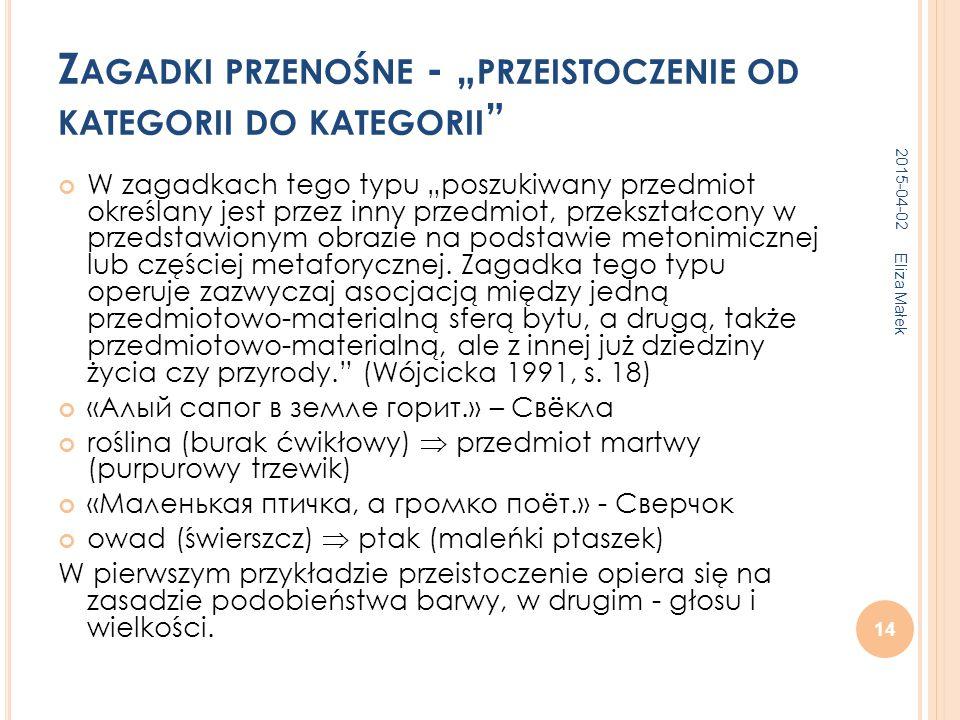 """Z AGADKI PRZENOŚNE - """" PRZEISTOCZENIE OD KATEGORII DO KATEGORII W zagadkach tego typu """"poszukiwany przedmiot określany jest przez inny przedmiot, przekształcony w przedstawionym obrazie na podstawie metonimicznej lub częściej metaforycznej."""