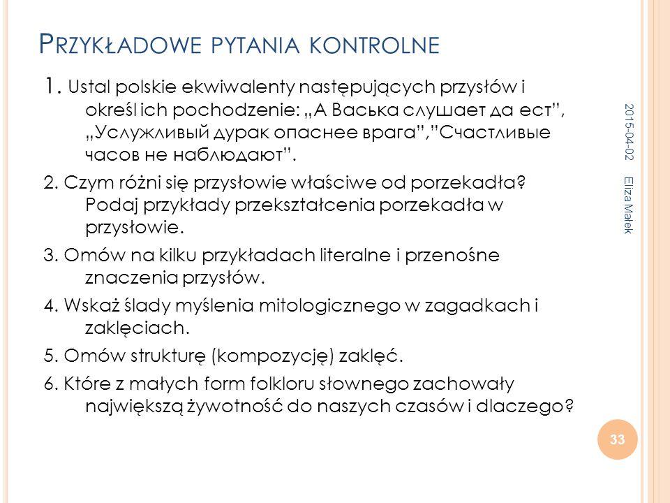 P RZYKŁADOWE PYTANIA KONTROLNE 1.