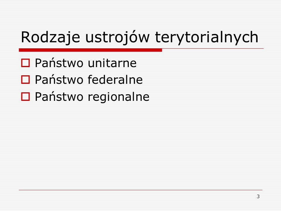 3 Rodzaje ustrojów terytorialnych  Państwo unitarne  Państwo federalne  Państwo regionalne
