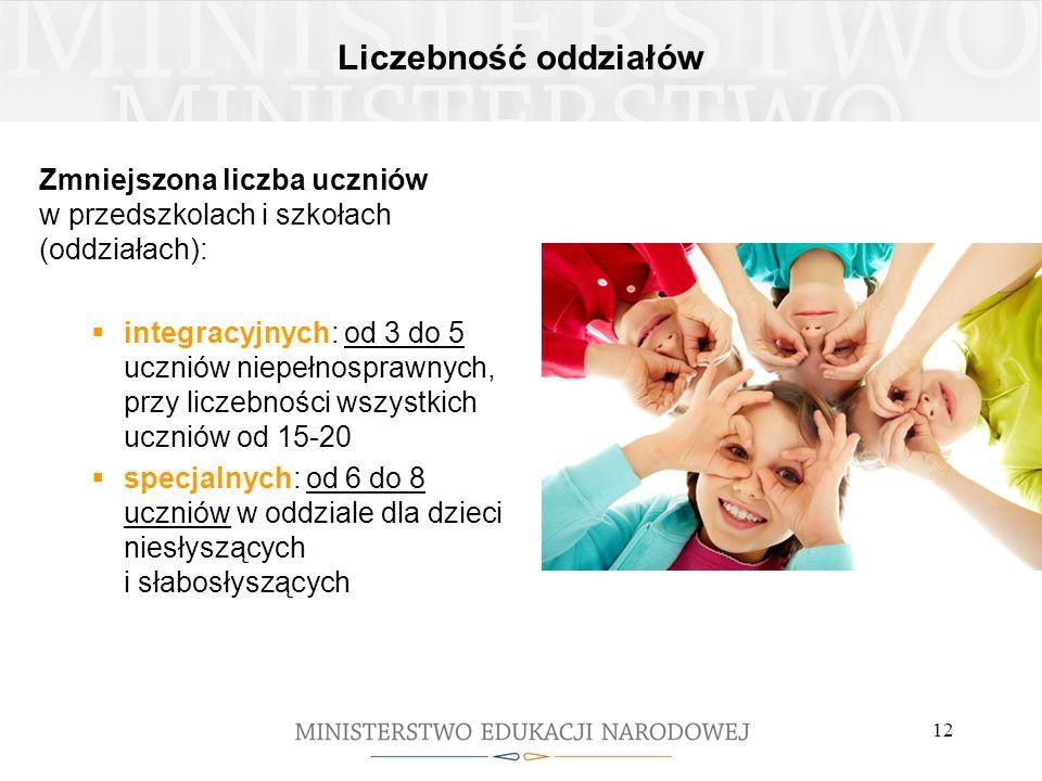 Liczebność oddziałów Zmniejszona liczba uczniów w przedszkolach i szkołach (oddziałach):  integracyjnych: od 3 do 5 uczniów niepełnosprawnych, przy l