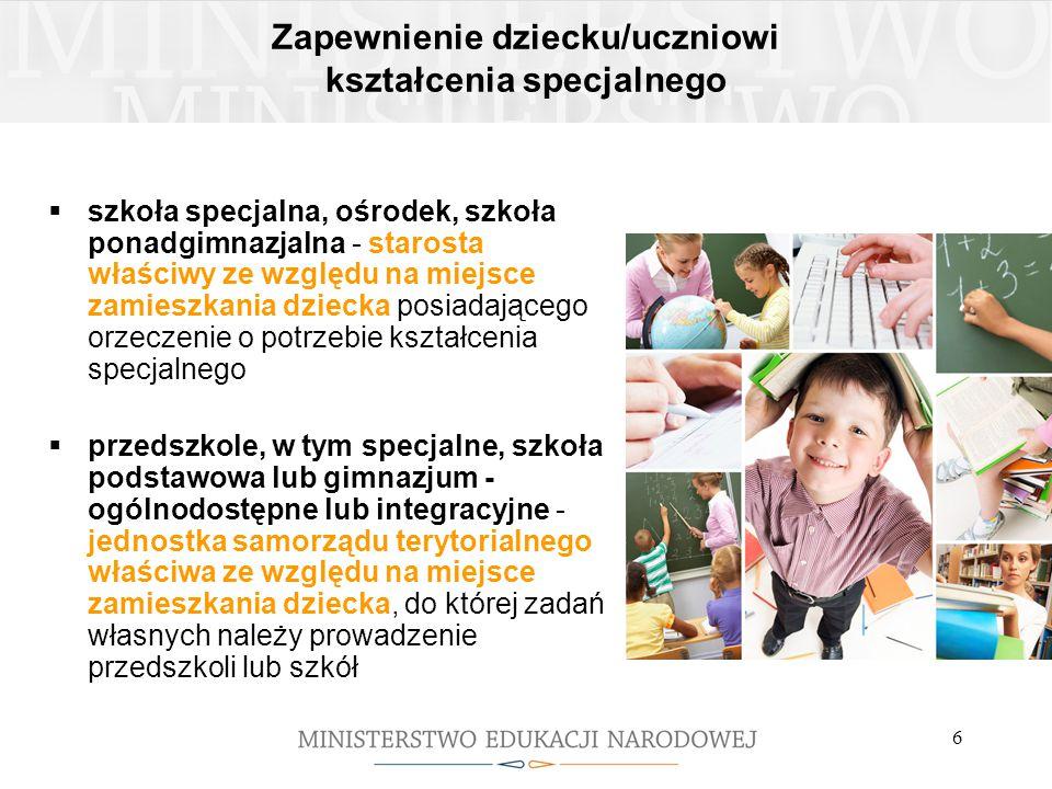 6 Zapewnienie dziecku/uczniowi kształcenia specjalnego  szkoła specjalna, ośrodek, szkoła ponadgimnazjalna - starosta właściwy ze względu na miejsce