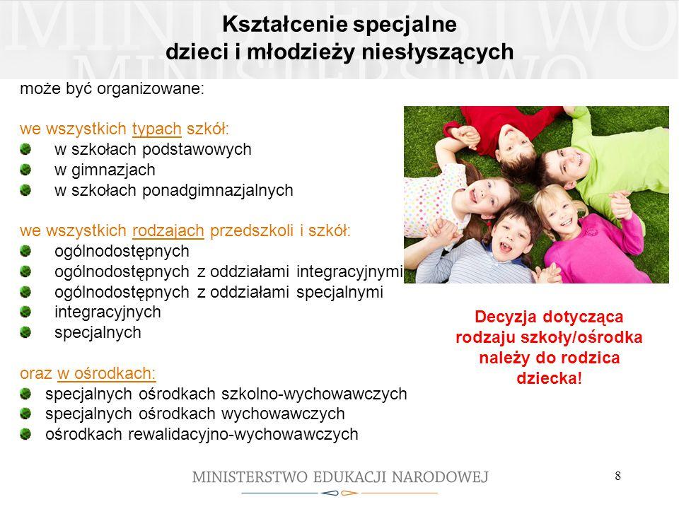 8 Kształcenie specjalne dzieci i młodzieży niesłyszących może być organizowane: we wszystkich typach szkół: w szkołach podstawowych w gimnazjach w szk