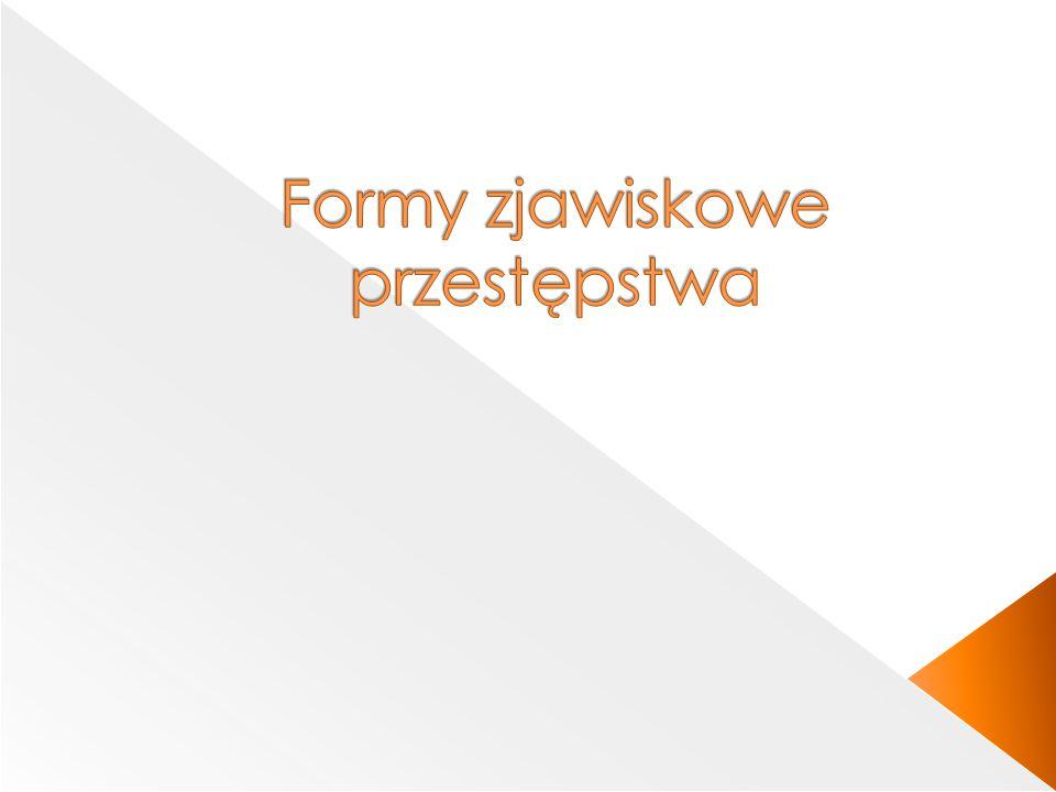 Formy zjawiskowe Formy niesprawcze Formy sprawcze Sprawstwo PodżeganiePomocnictwo JednosprawstwoWspółsprawstwo Sprawstwo kierownicze Sprawstwo polecające