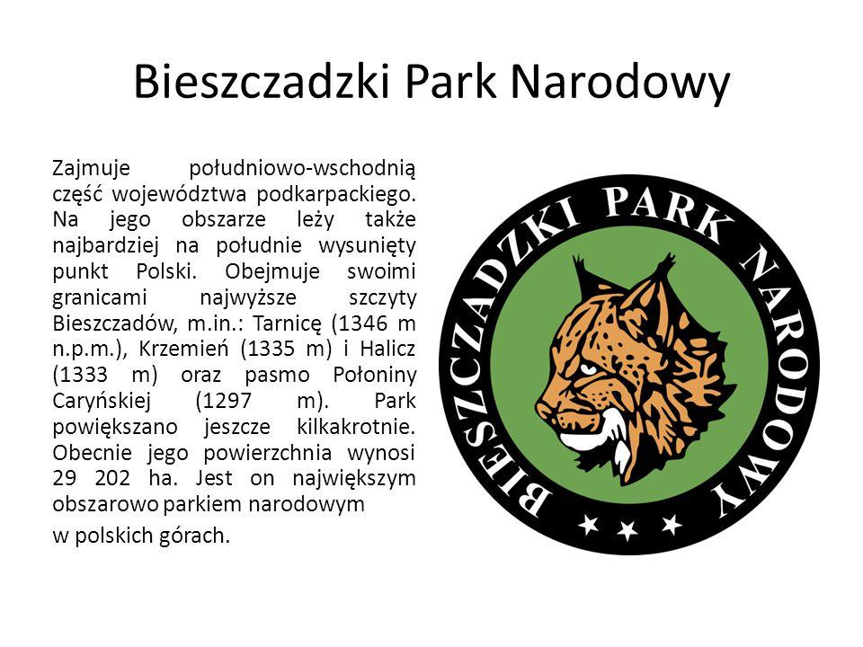 Bieszczadzki Park Narodowy Zajmuje południowo-wschodnią część województwa podkarpackiego. Na jego obszarze leży także najbardziej na południe wysunięt