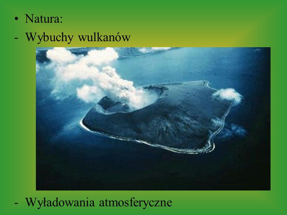 Natura: -Wybuchy wulkanów -Wyładowania atmosferyczne