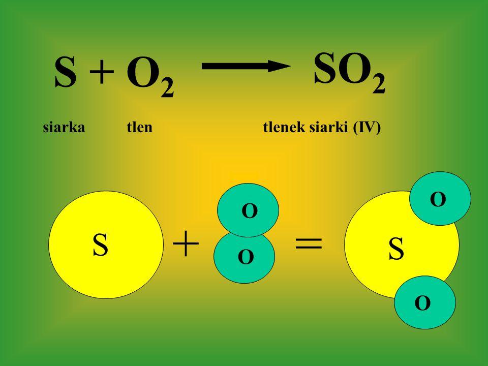 S += S + O 2 SO 2 S O O O O siarka tlen tlenek siarki (IV)