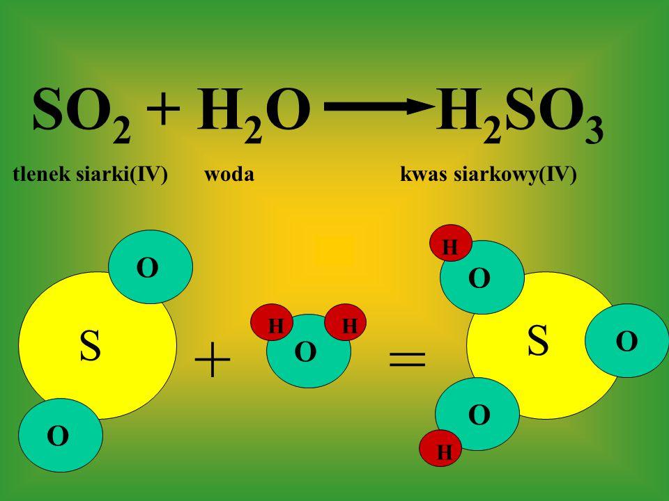 SO 2 + H 2 O H 2 SO 3 tlenek siarki(IV) woda kwas siarkowy(IV) += S S O O O O O O H H H H