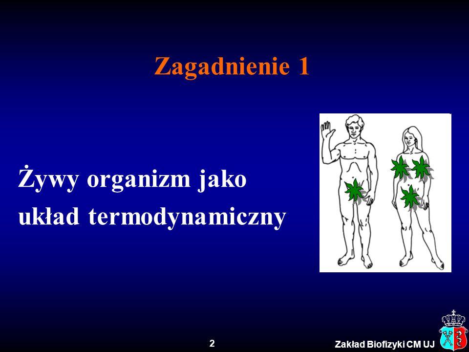2 Zakład Biofizyki CM UJ Zagadnienie 1 Żywy organizm jako układ termodynamiczny