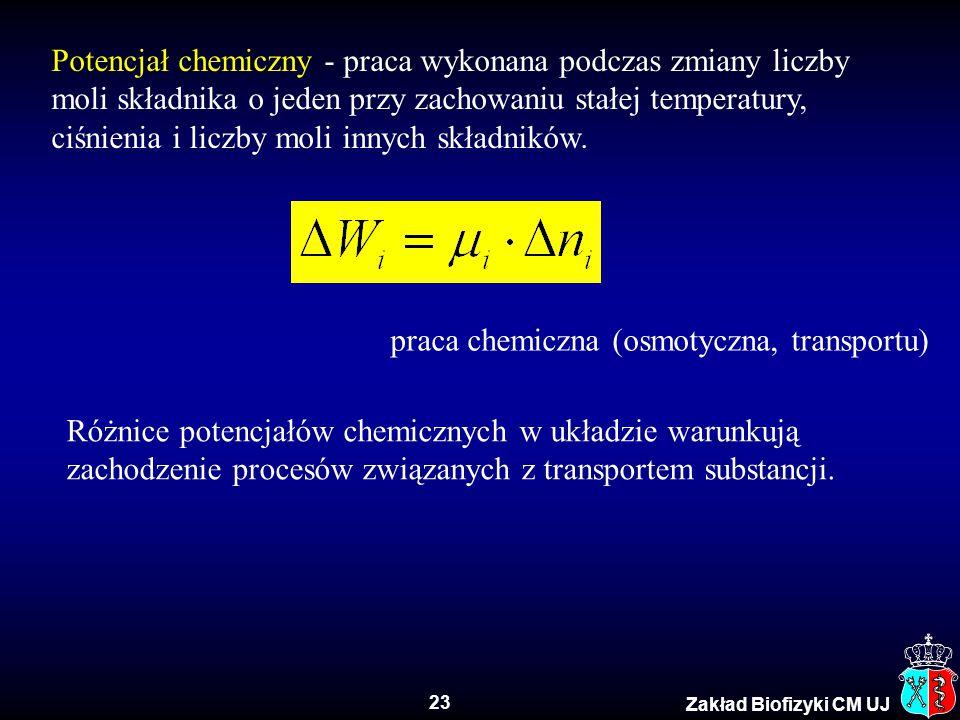 23 Zakład Biofizyki CM UJ Potencjał chemiczny - praca wykonana podczas zmiany liczby moli składnika o jeden przy zachowaniu stałej temperatury, ciśnie