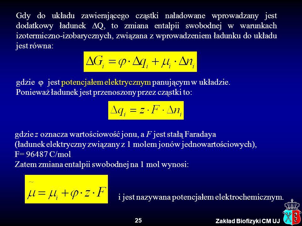 25 Zakład Biofizyki CM UJ Gdy do układu zawierającego cząstki naładowane wprowadzany jest dodatkowy ładunek  Q, to zmiana entalpii swobodnej w warunk