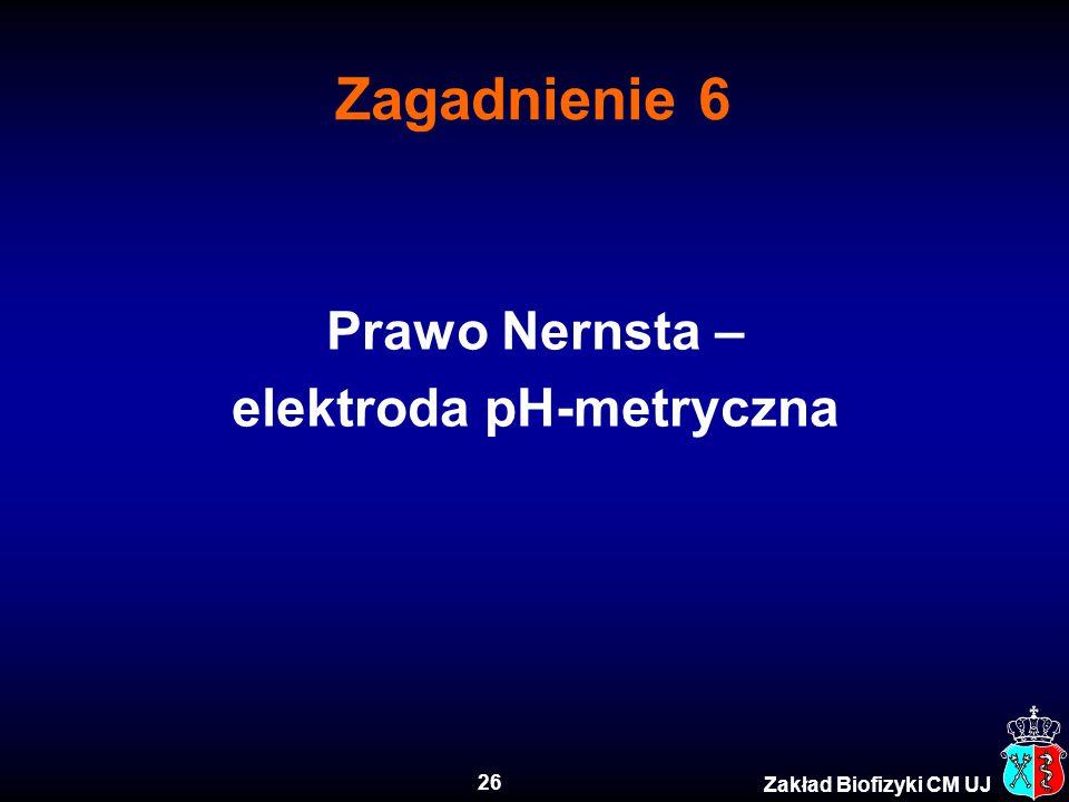 26 Zakład Biofizyki CM UJ Zagadnienie 6 Prawo Nernsta – elektroda pH-metryczna